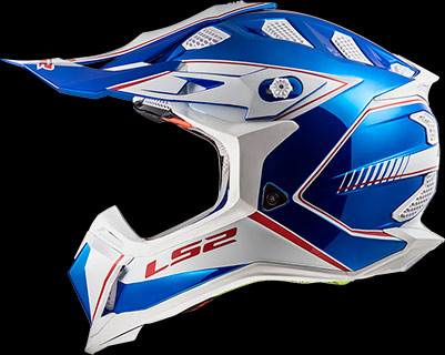 LS2 Crosshelm - Subverter Power - Glans blauw chrome - groot